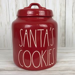 Rae Dunn SANTA'S COOKIES Red Canister.